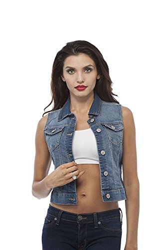 Hollywood Star Fashion Sleeveless Button up Jean Denim Jacket Vest (Medium, Medium Blue)