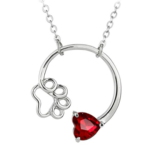 MUZHE Charm Silver Birthstone Necklace - Fover Love Dog Cat Bear Puppy Paw Birth Gemstone Heart Pendant Necklace for Birthday Gifts (January)