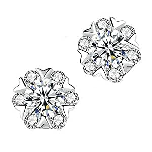 Women 925 Sterling Silver Earrings Fashion Snowflake Shaped Jewelry
