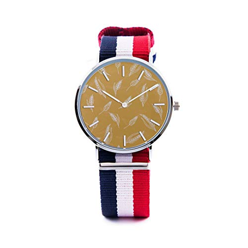 77fdd5413a8b Unisex Fashion Watch Wheat Grain Farmland Creative Design Print Dial Quartz  Stainless Steel Wrist Watch with