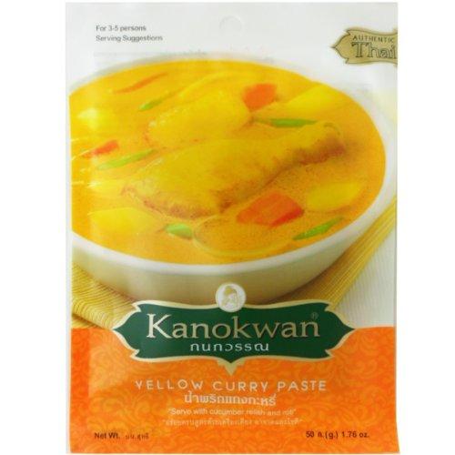 - Yellow Curry Paste ( Kaeng Ka-ree )Thai Authentic New Herbal Food Net Wt 50 G (1.76 Oz.) Kanokwan Brand X 3 Bags