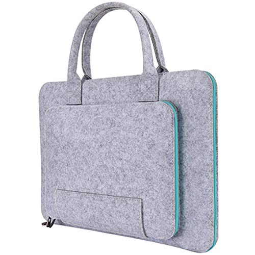(11 13 14 15.6 17.3 Inch Super Light Solid Wool Felt Laptop Bag Handbag,Grey and Blue,14-Inch)