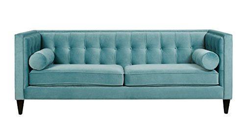 Jennifer Taylor Home Jack Collection Modern Hand Tufted Upholstered Sofa With 2 Bolster Pillows and Hand Finish Legs, Arctic Blue