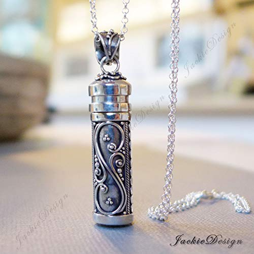 43mm Tall Bali Sterling Silver Long Tube Treasure Container Wish Locket Pendant 20