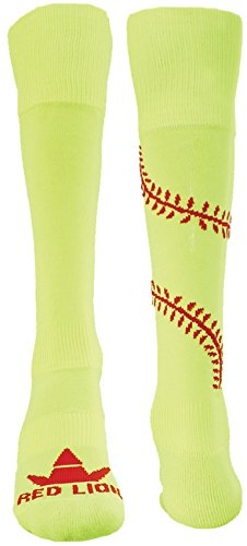 Red Lion Play Ball Knee High Athletic Socks ( Neon Yel / Red - Medium )