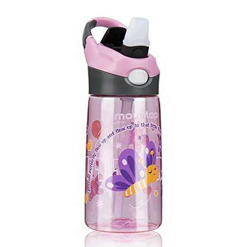 mountop Sports Water Bottle for Kids with Pop-up Straw and Clip Handle, Non-Toxic & Eco-Friendly 0.4L 14 oz(School Girl, Sakura Pink, Little Butterfly and Flower)