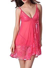 Women Lace Lingerie Strap Semi-Sheer Babydoll Polyeater Teddy Patchwork Sleepwear Set