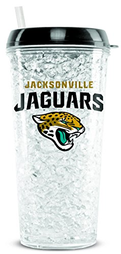 NFL Jacksonville Jaguars 16oz Crystal Freezer Tumbler with Lid and Straw (Nfl Jacksonville Crystal Jaguars)