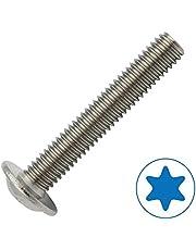 10 tornillos de cabeza plana con brida según ISO 7380-2 TX de acero inoxidable A2.
