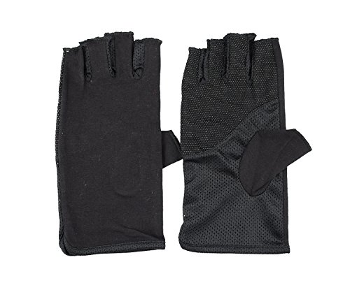 Breathable Cool Fingerless Gloves UV Lightweight Fingerless Gloves Driving Fingerless Gloves Black 2