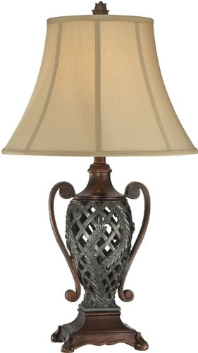 Lite Source C41255 Table Lamp with Tan Fabric Shades, Vintage Silver and Bronze Finish (Vintage Tiffany Collection Chandelier Bronze)