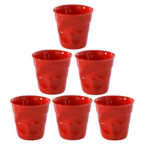 Revol Froisses Pepper Red Porcelain 2.75 Ounce Crumpled Espresso Tumbler, Set of ()