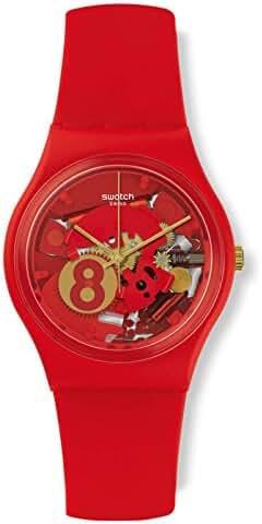 Swatch Boy's Gent GR166 Red Silicone Swiss Quartz Watch