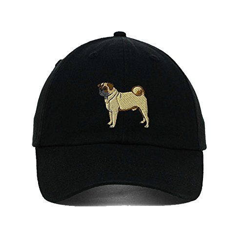 (Speedy Pros Pug Embroidery Twill Cotton 6 Panel Low Profile Hat Black)