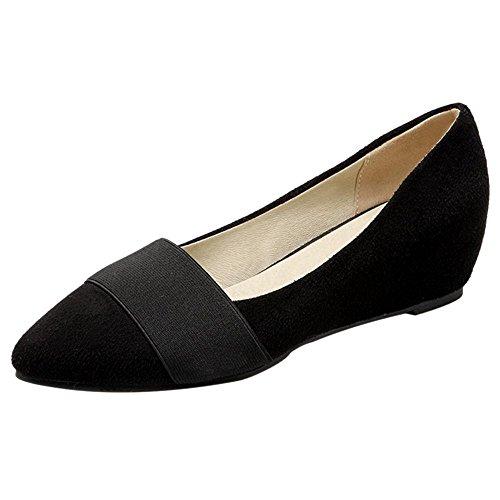 TAOFFEN Women's Low Heel Slip On Shoes Black 37bfRZTu