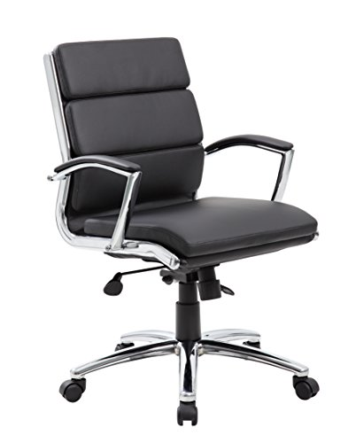 Boss Office Products B9476-BK Executive Mid Back CaressoftPlus Chair with Metal Chrome Finish in Black ()