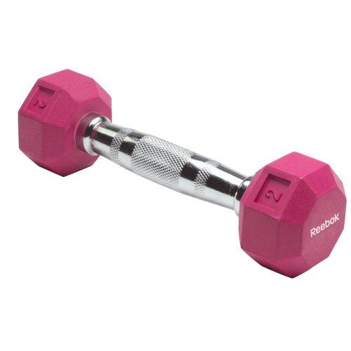 Reebok Weights (Reebok Rubber Hex Dumbbell (2-Pounds, Dark Pink))