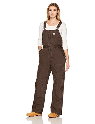 Carhartt Women's Weathered Duck Wildwood Bib Overalls (Regular and Plus Sizes), Dark Brown, X-Small Short
