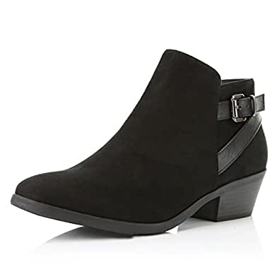 DailyShoes Women's Western Cowboy Bootie - Ultra Comfortable Chayo-01, Black Suede, 5 B(M) US