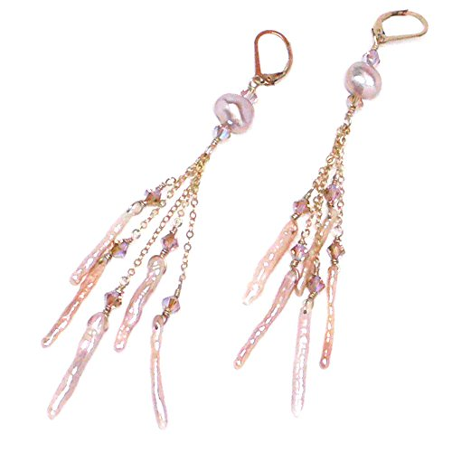 Silver Freshwater Pearl Chandelier - Peach Mauve Cultured Freshwater Pearl Stick Five Dangles Chandelier Earrings Gold-Filled Sterling Silver