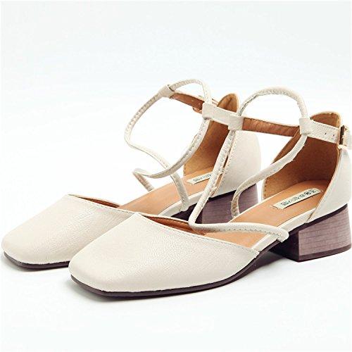Zapatos zapatos con hueco cuadrado zapatos Rough tacones Thirty-six