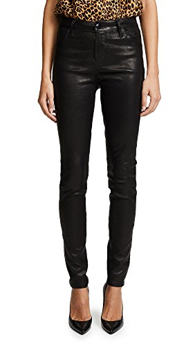 - J Brand Women's Maria High Rise Leather Pants, Black, 26