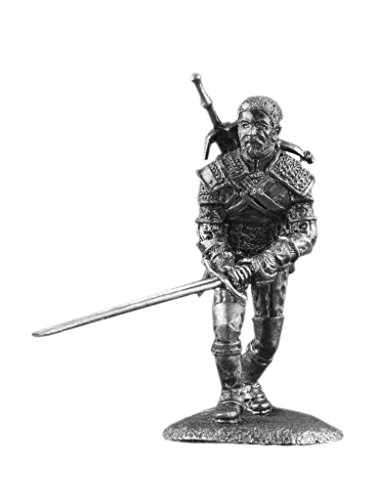 Geralt Wild Hunt Witcher Fantasy UnPainted Tin Metal 54mm Action Figures Toy Soldiers Size 1/32 Scale for Home Décor Accents Collectible Figurines ITEM #Wh-03