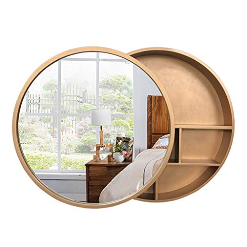 (Round Bathroom Mirror Cabinet, Bathroom Wall Storage Cabinet Sliding Mirror Medicine Cabinet with Steel Gliding Stainless Wooden Frame 3 Level)