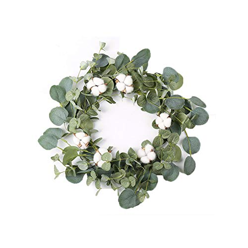 "14"" Artificial Eucalyptus Green Leaf Wreath with Cotton, Spring Summer Outdoor Ornaments for Front Door Bedroom Wall Window Home Office, Housewarming Gift, and Easter Valentine Decor"