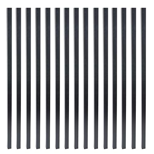 Myard 29 Inches Estate Square Iron Balusters for Decking Railing Patio Fence, Modern Look (25-Pack, Matte Black) (Wood Thick Balusters)