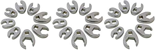 Fractional Crowfoot Wrench Set - Sunex 9708 3/8-Inch Drive Fractional Crowfoot Flare Nut Wrench Set, 3/8-Inch - 7/8-Inch, Fully Polished, 8-Piece (3 Sets)