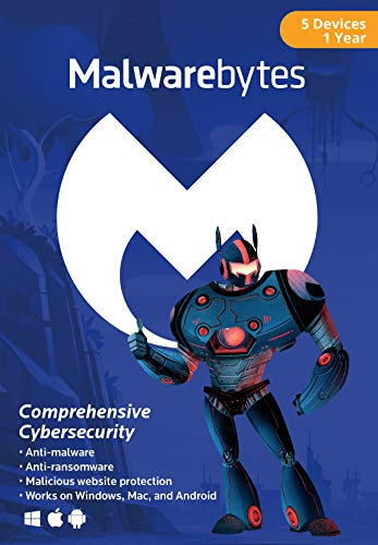 Malwarebytes Premium 4.0 Latest Version | 5 Device 1 Year (PC, Mac, Android) [software_key_card]…