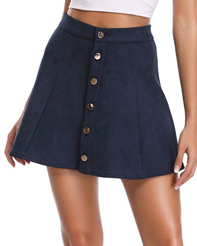 Lady Mini Button - Argstar Womens Faux Suede Button Closure A-Line Mini Short Skirt, Navy, Large