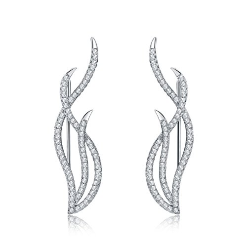 Flame Princess Costume Ideas (Mevecco Womens Girls Ear Crawler Climber CZ Crystal Flame Fire Ear Wrap Cuffs Earrings Sweep Stud Earring Pin Jewelry-03-Silver)