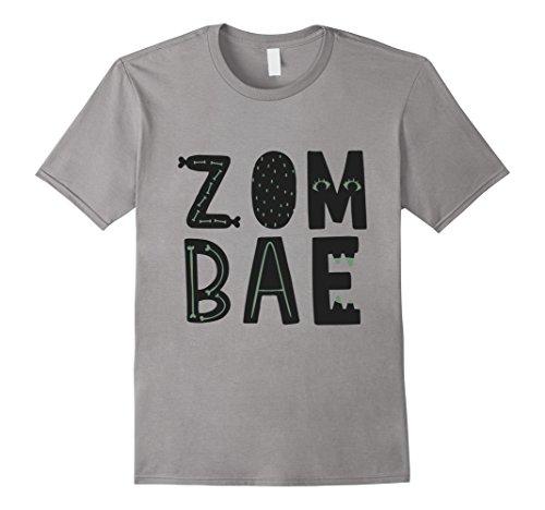 Mens Zombae - Couple Zombie Shirt - Cute Halloween Shirt Large Slate (Cute Couple Shirt Ideas)