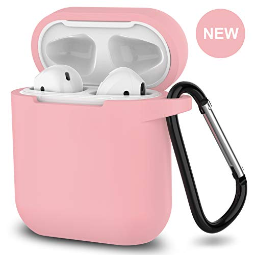 AirPods Case,SATLITOG Protective Silicone Cover Compatiable with Apple AirPods 2 and 1(Not for Wireless Charging Case)(Pink)