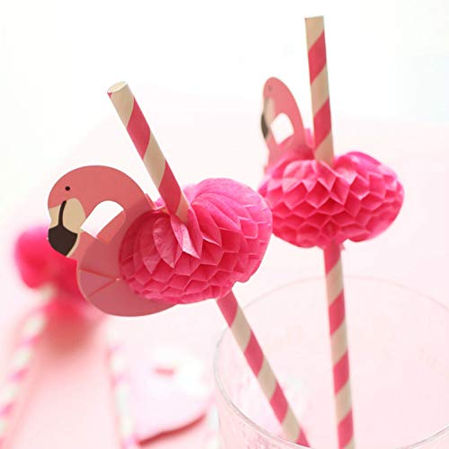 Flamingo Paper Straw Decorations - Drinking Straws Decorative For Party Table Decor, 40 Count by GuassLee