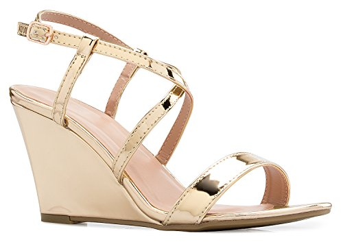 OLIVIA K Women's Strappy Water Dot Cut Out Wedge Sandals - Sexy Open Toe Heel - Comfort, Fasionable, Casual Style