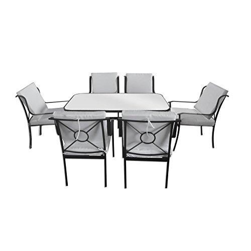 Bagno Italia Muebles de Exterior Mesa Cristal 6 sillas Hierro con ...