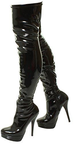 THIGH FIT KNEE STILLETO WOMENS SEXY Patent WIDE STRETCH STRETCHY SIZE Black HIGH BLACK LADIES OVER BOOTS THE UYPFnzUHW