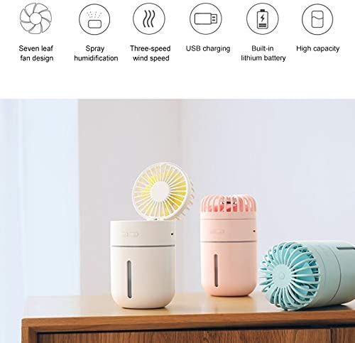 Color : White Pink CellphoneMall USB Desk Personal Fan T9 Portable Adjustable USB Charging Desktop Humidifying Fan with 3 Speed Control
