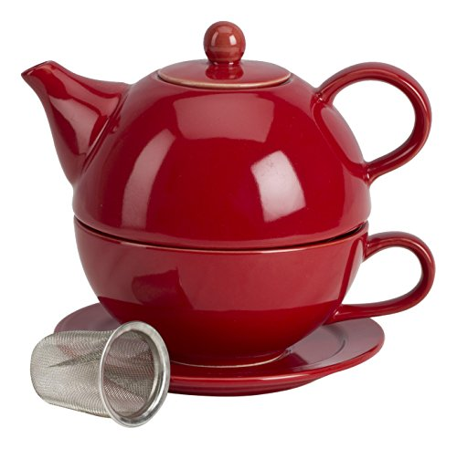Omniware 1500125 5 Piece Tea For One Teapot Set with An Infuser, Red ()