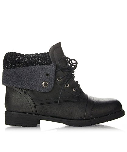 ROF Women's Lace-up Combat Military Inspired Sweater Knit Folded Cuff Mid-Calf Ankle Booties