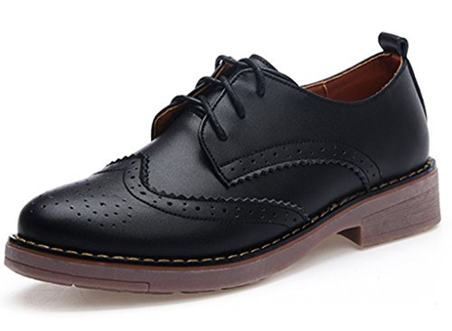 DADAWEN Women's Perforated Lace-up Wingtip Leather Flat Oxfords Vintage Oxford Shoes Brogues