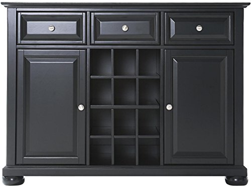 Crosley Furniture Alexandria Wine Buffet / Sideboard - Black (Veneer Top Server)