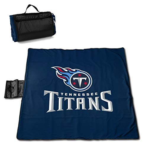 (MamaTina Custom Colourful Outdoor Waterproof Picnic Mat Tennessee Titans Football Team Large Picnic Blanket Beach Mat with Tote for Hiking Camping Traveling 57x59 Inch )