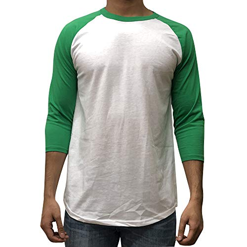 KANGORA Men's Plain Raglan Baseball Tee T-Shirt Unisex 3/4 Sleeve Casual Athletic Performance Jersey Shirt (24+ Colors) (White Kelly Green, Medium)