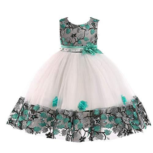 JIANLANPTT Little Girls Summer Appliques Floral Wedding Princess Prom Gown Children Ceremony Dresses 4-5Years White -