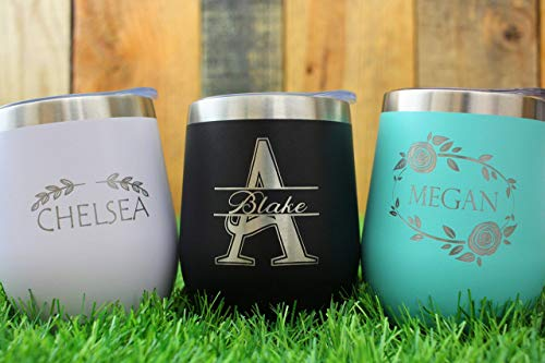 Monogram Vacuum Insulated Wine Tumbler With Lid - Personalized Stemless Stainless Steel Wine Glass - CRU -