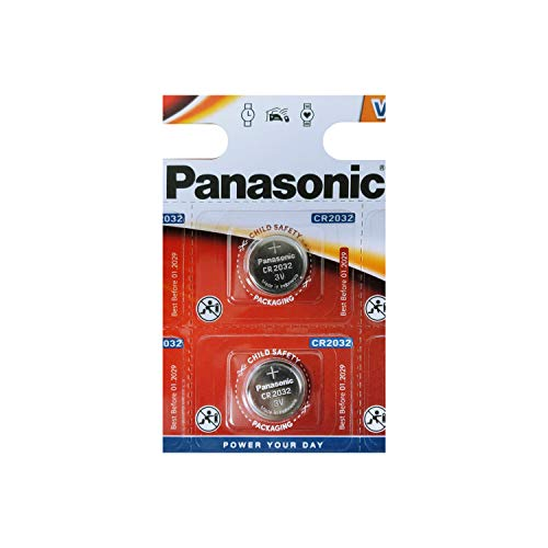 - One (1) Twin Pack (2 Batteries) Panasonic Cr2032 Lithium Coin Cell Battery 3V Blister Packed